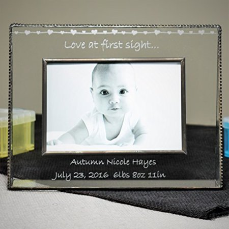 J Devlin Pic 319-46H EP558 Baby Love at First Sight Personalized 4x6 Glass Picture Frame Horizontal Landscape Photo Frame ()