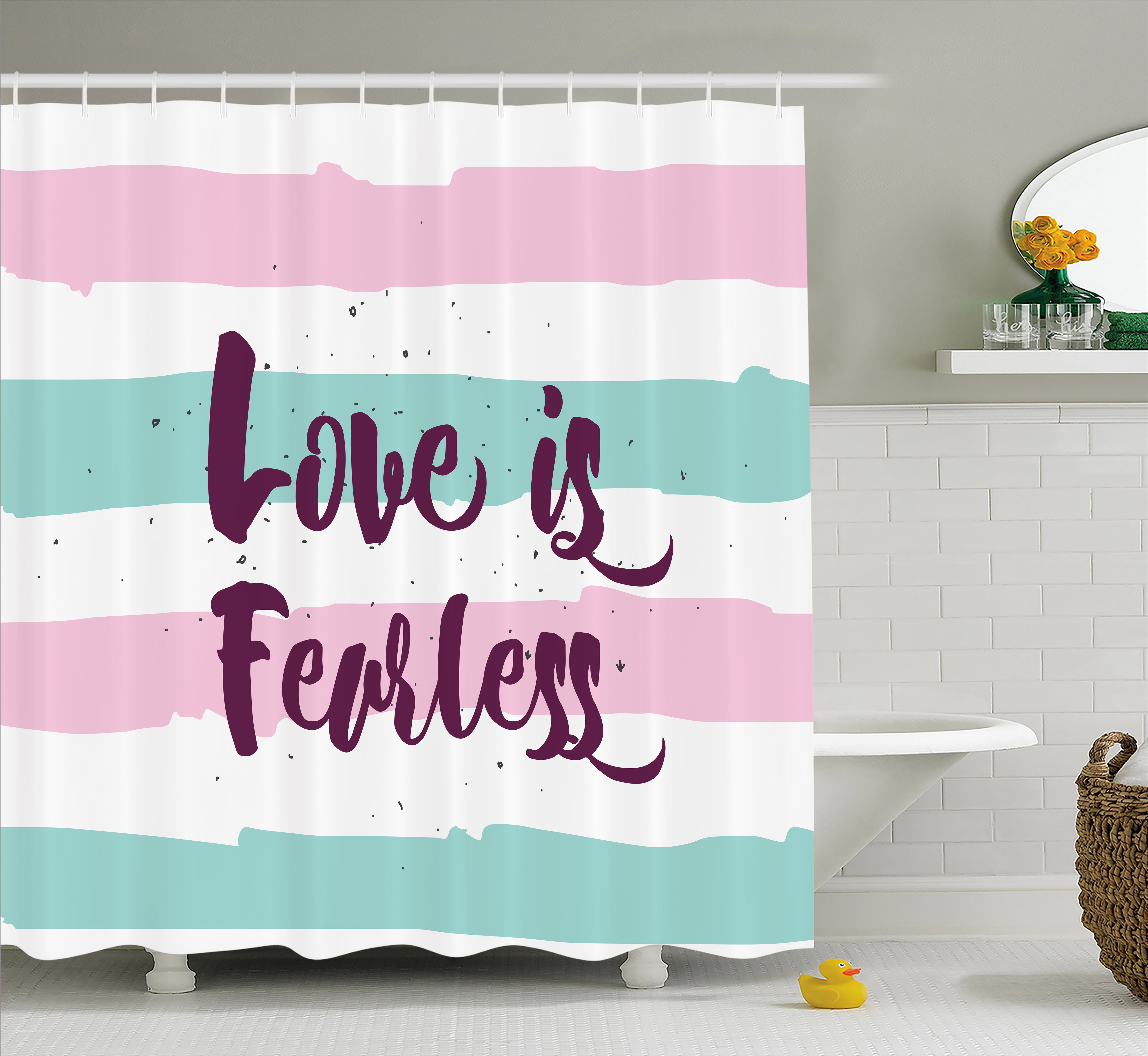Romantic Shower Curtain Love Is Fearless Inspirational Inscription On Pastel Color Bands Fabric Bathroom Set With Hooks Plum Pale Pink Mint Green