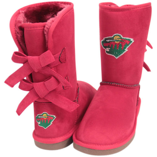 Women's Cuce Red Minnesota Wild Patron Bow Boots by Cuce Shoes