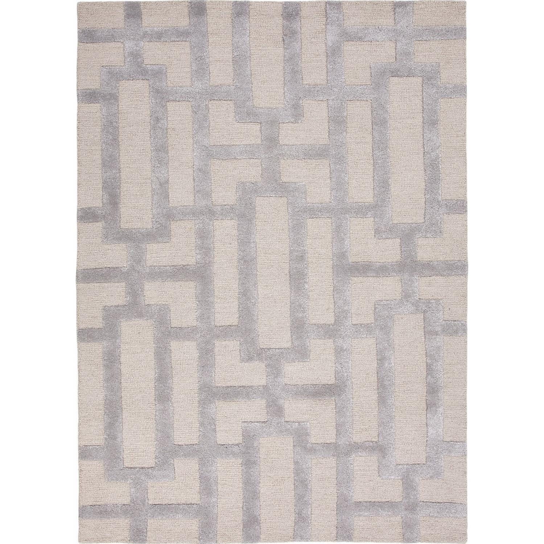 2' x 3' Silver and Cream Modern Dallas Hand Tufted Wool B...