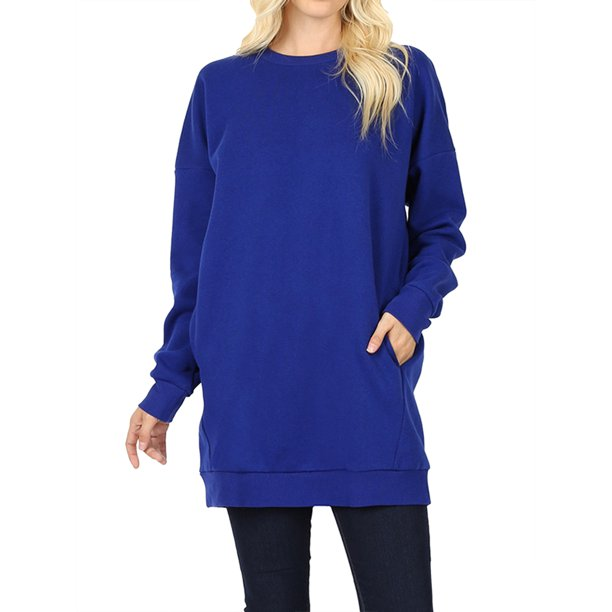 Women Oversized Loose Fit Round Neck Tunic Long Sweatshirts Top