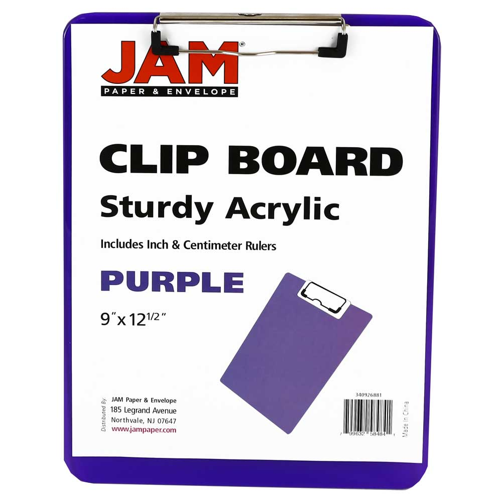 Letter Size JAM PAPER Plastic Clipboards with Low Profile Metal Clip 9 x 12.5