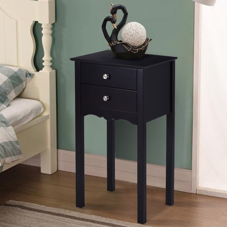 Gymax Side Table End Accent Table Night Stand W/ 2 Drawers Furniture Black (Black Tabletop Stand)