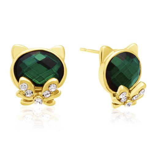 Emerald Cat Stud Earrings, Gold Overlay, Pushbacks