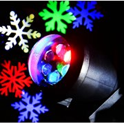 LightMe 6 LEDs Snowflake Spotlights, Waterproof 6W Multi-color Projector Lamp Moving Automatically Landscape Lighting for Christmas, Festival, Wedding, Garden Decor(Colorful-snow)