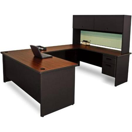 Marvel Group Of Companies (Marvel Group PRNT59-BK-F8559-MADN 8.5 x 6 ft. U-Shaped Desk with Flipper Door Unit, Black & Mahogany,)