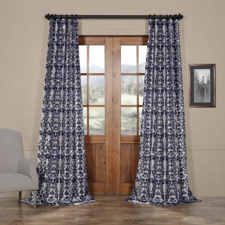 Half Price Toy - Half Price Drapes Firenze Fern Flocked Faux Silk Single Curtain Panel