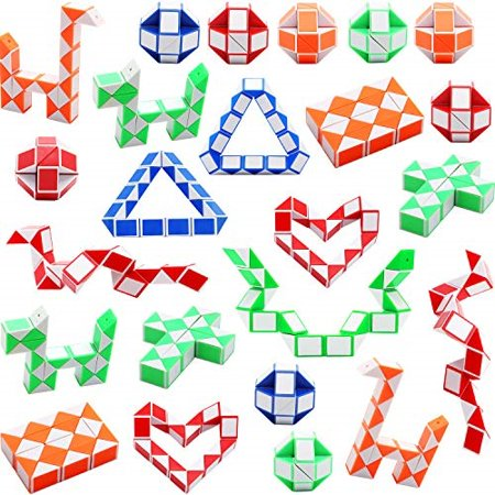 Sunshane 24 Pack 24 Blocks Magic Snake Cube, Mini Snake Speed Cubes, Twist Puzzle Toys for Kids Party Bag Fillers, Party Favours - image 1 de 1