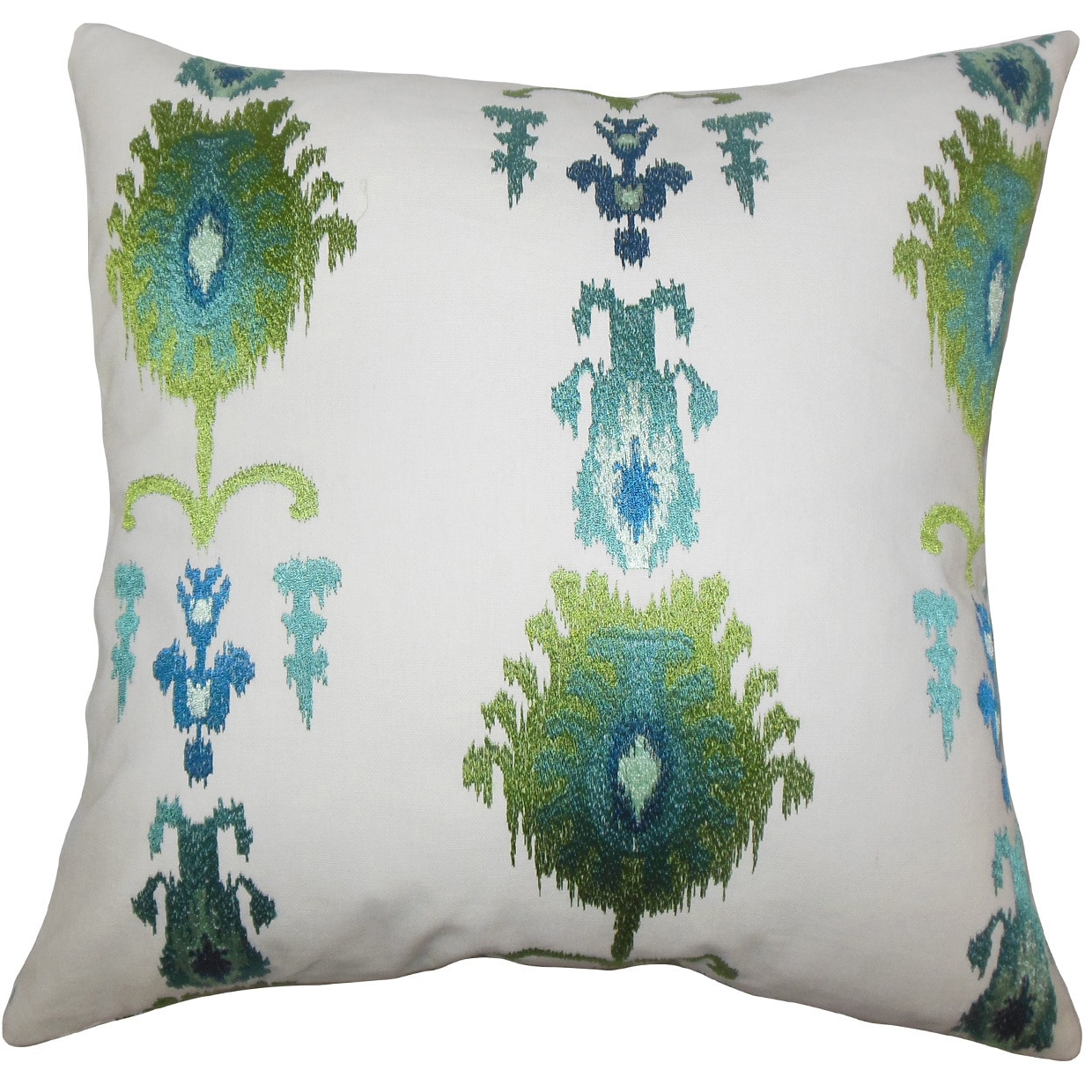 The Pillow Collection Calico Ikat 24-inch Down Feather Throw Pillow - Blue Green