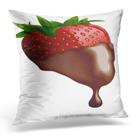 ECCOT Brown Drip Chocolate Dipped Strawberry Green Fruit Pillowcase Pillow Cover Cushion Case 16x16