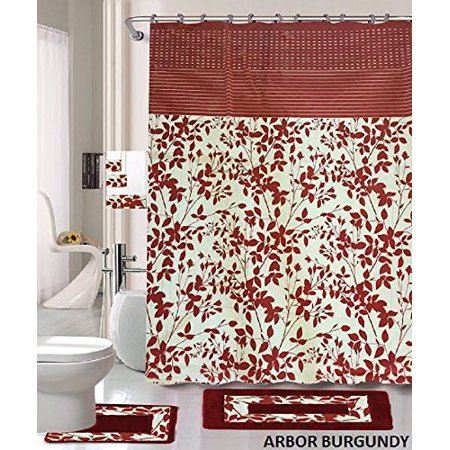 Holiday Arbor (18 Piece Bath Rug Set Burgundy Holiday Red Leave print bathroom rugs shower curtain/rings and Towels sets-Arbor )