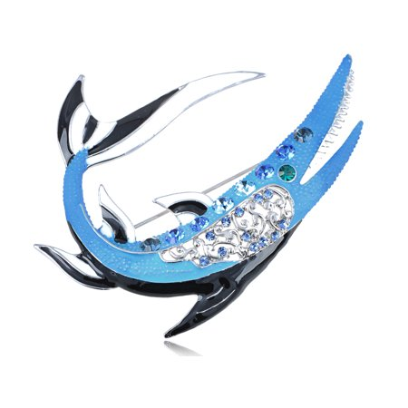 - Swarovski Crystal Elements Enamel Handpainted Tiger Shark Fashion Pin Brooch