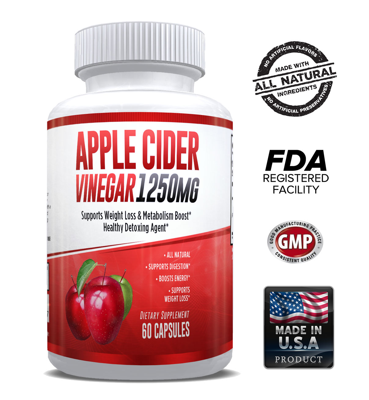 Apple Cider Vinegar Pills for Weight Loss - Increase Fat Burning, Energy & Metabolism - Detox Cleanse – Powerful & Potent 1250mg for Men & Women – 1 Month