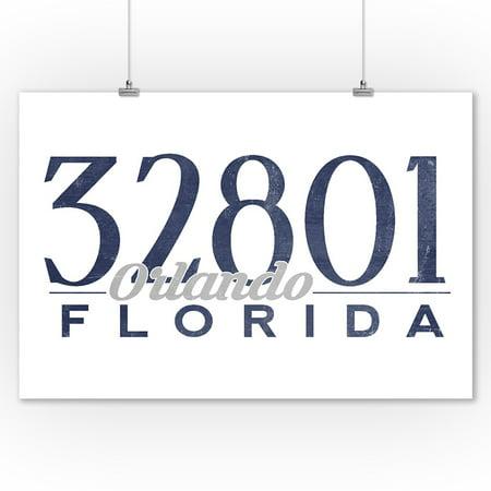 Orlando, Florida - 32801 Zip Code (Blue) - Lantern Press Artwork (9x12 Art Print, Wall Decor Travel