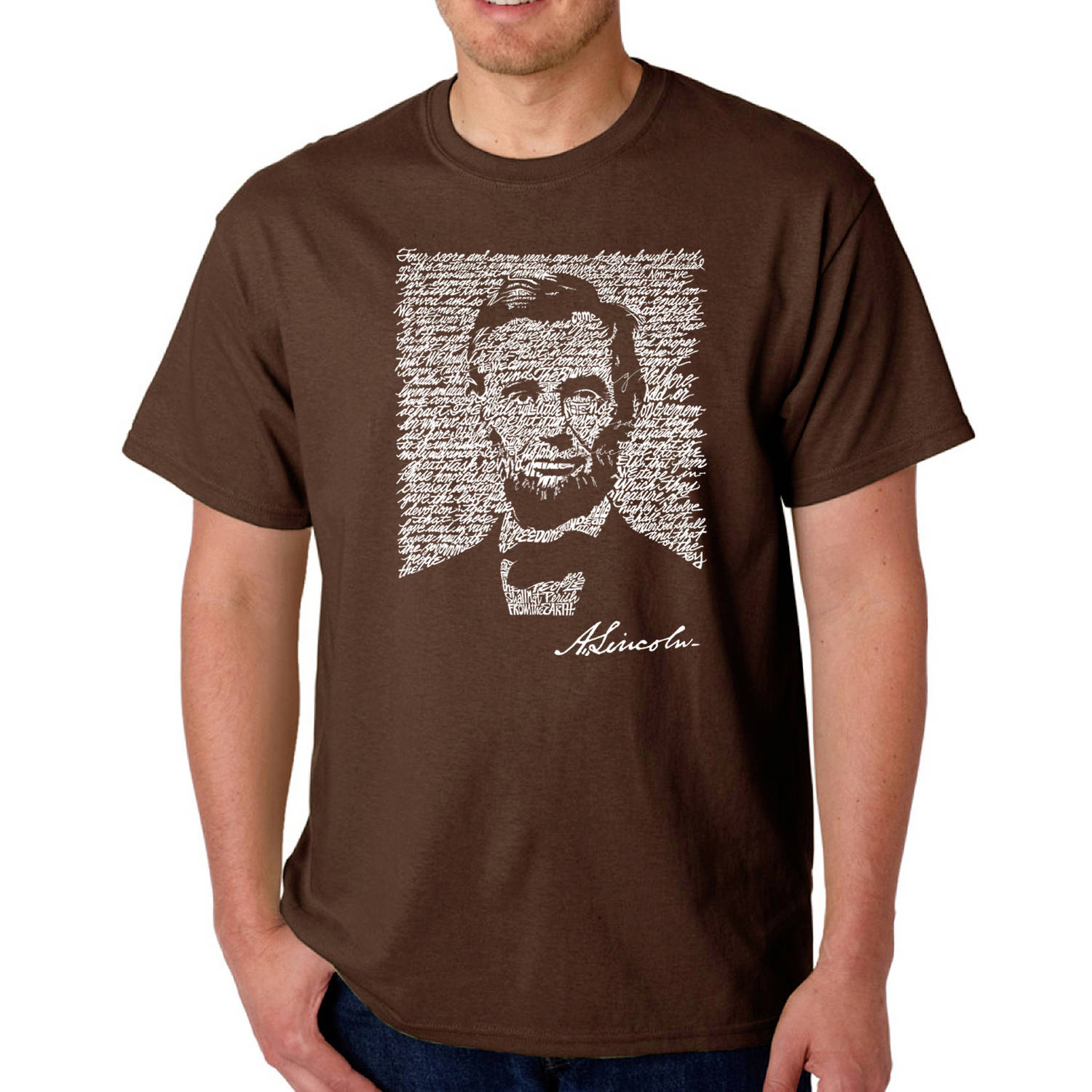 Los Angeles Pop Art Big Men's T-shirt - Abraham Lincoln - Gettysburg Address