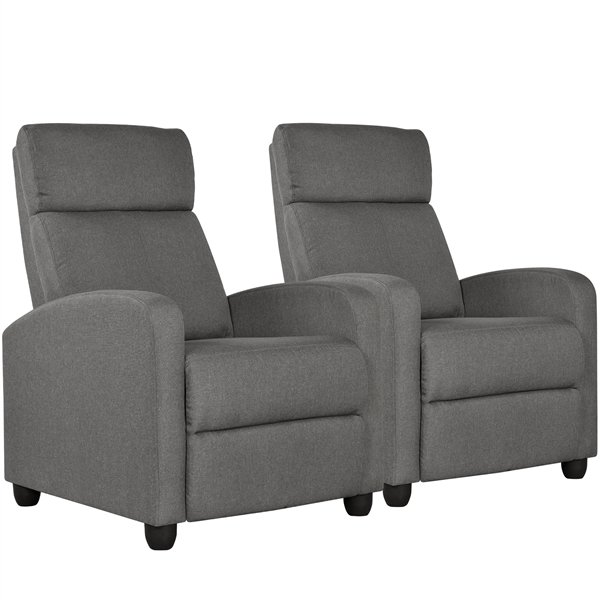 Set of 2 Recliner Chair Modern Sofa Recliner with Soft-Cushioned Seat Gray
