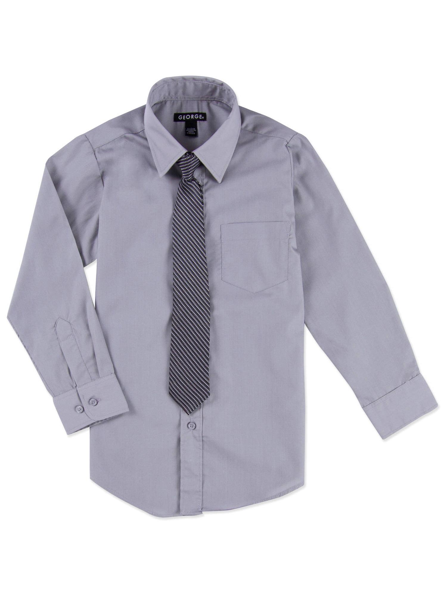 Boys Blue /& White Checked Dess Shirt w// Clip-On Tie Size 14//16