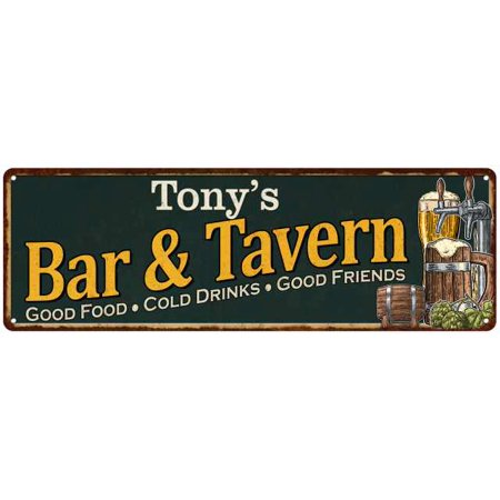 Tony's Bar and Tavern Green Chic Sign Home Man Cave Décor 6x18 M6180003115 - Tavern Man