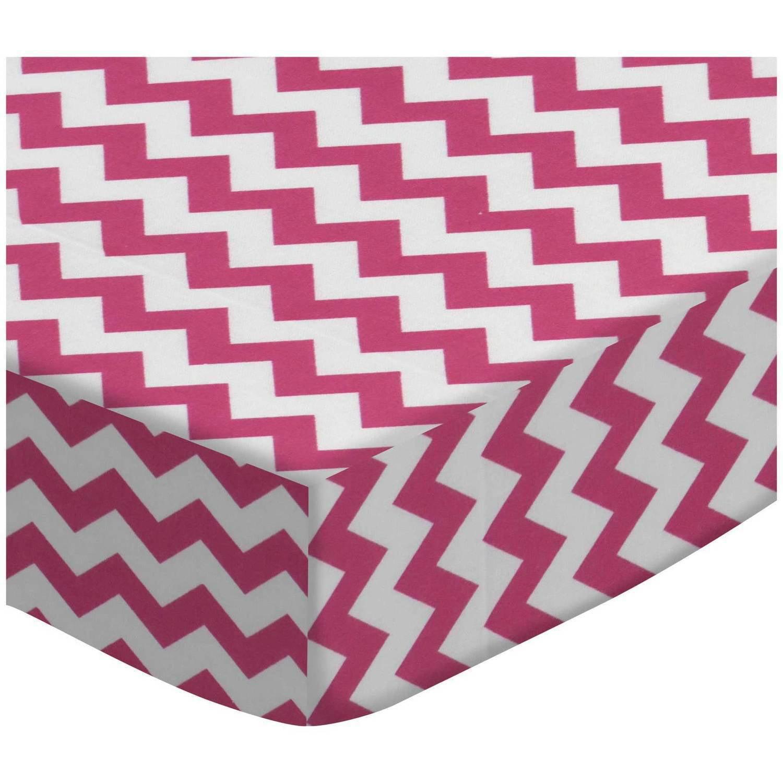 SheetWorld Fitted Oval Crib Sheet (Stokke Sleepi) -  Hot Pink Chevron Zigzag