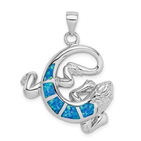 Sterling Silver Rhodium-plated Simulated Blue Opal Gecko (Opal Gecko)