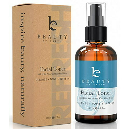 Beauty By Earth Facial Toner; Organic and Natural Witch Hazel Rose Water Astringent; Best Hydrating and Clarifying Face Spray for Daily Use; No Alcohol or Oil; Skin Cleansing for Men and