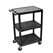 Offex 3 Shelves Multipurpose Storage Structural Foam Plastic Service Utility Cart - Black