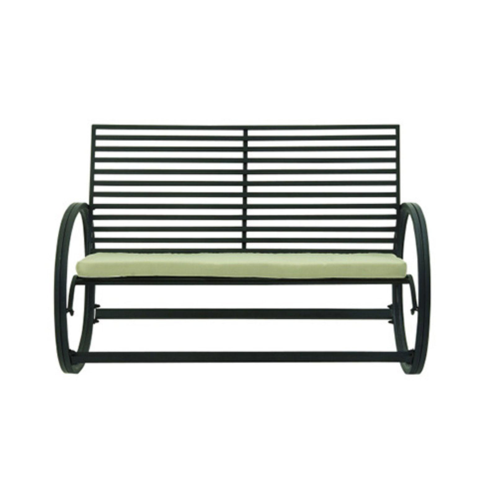 Appealing Metal Fabric Rocking Bench by Benzara