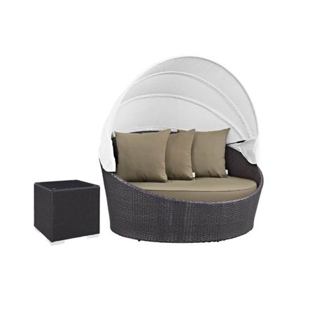 2 Piece Patio Furniture Set With Canopy Daybed And End Table In Espresso Wicker