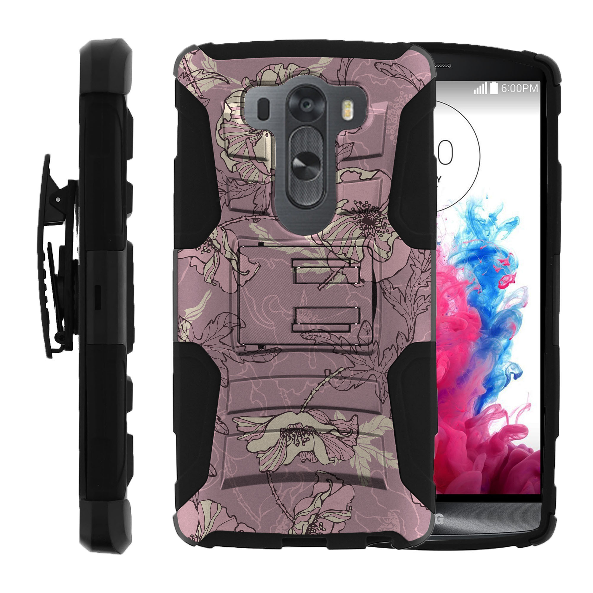 LG V10 and LG G4 PRO Miniturtle® Clip Armor Dual Layer Case Rugged Exterior with Built in Kickstand + Holster - Artistic Color Flower