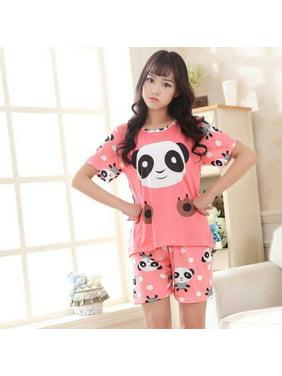 2pcs/set Women Sleep Wear O-neck Pink Printing Nightgowns for Girl Home wear women Short Sleeve Tshirt + Shorts Pajama Sets