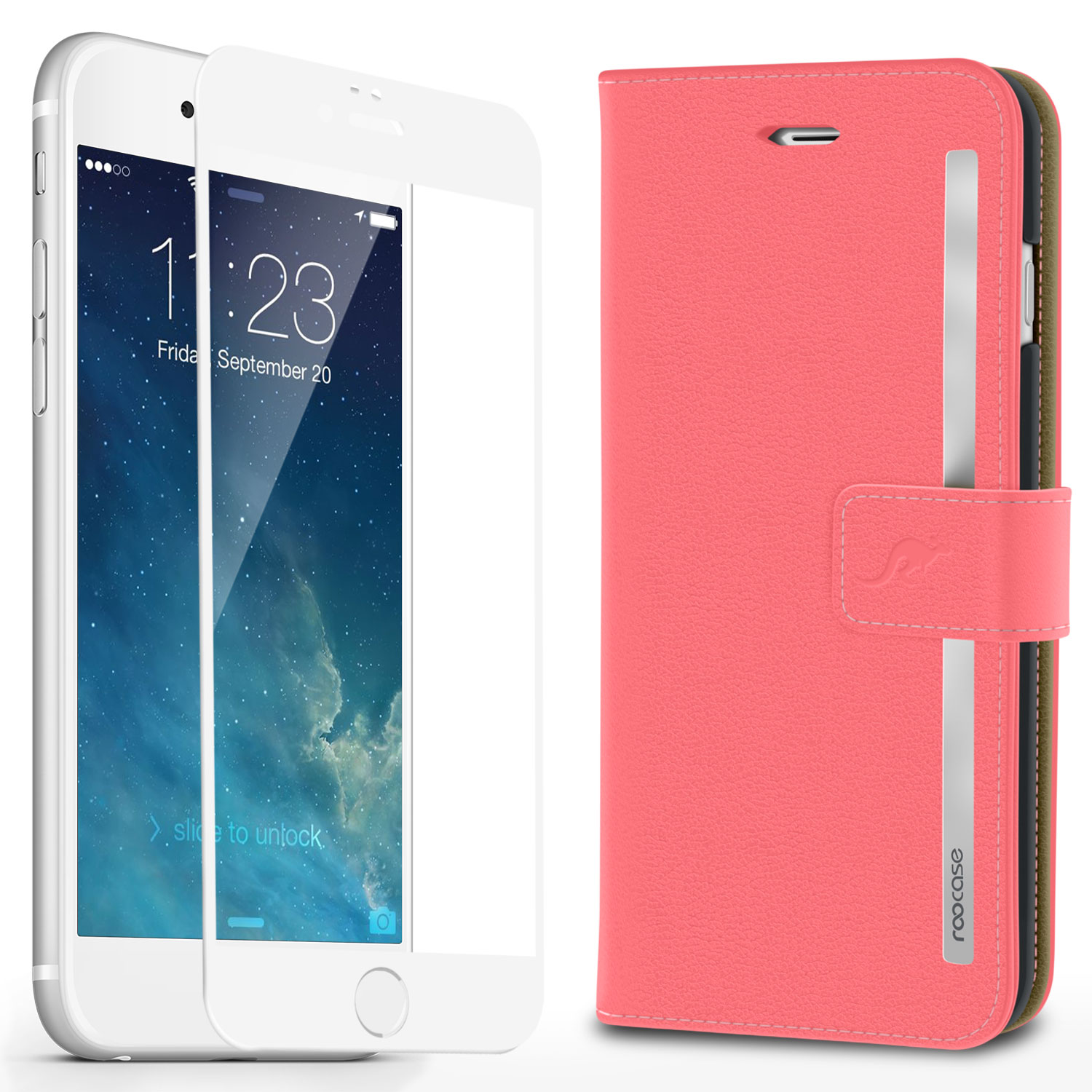 iPhone 6s Case, roocase [Prestige Folio] iPhone 6s Wallet Case Cover Card Holder with Full Screen Cover Tempered Glass (White Edge) for Apple iPhone 6s / 6 (2015), Pink