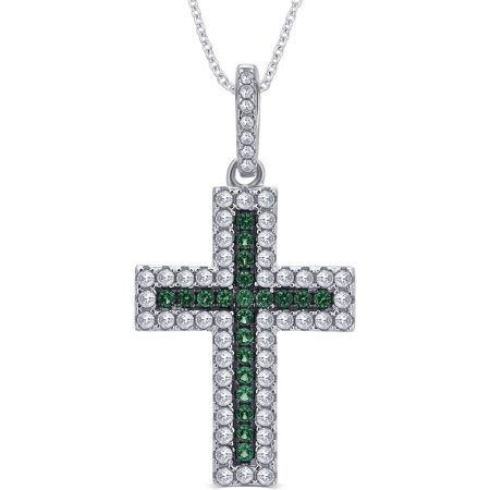 Created Emerald Cross - 1/4 Carat T.G.W. CZ and Created Emerald Gemstone Sterling Silver Cross Pendant Necklace, 18