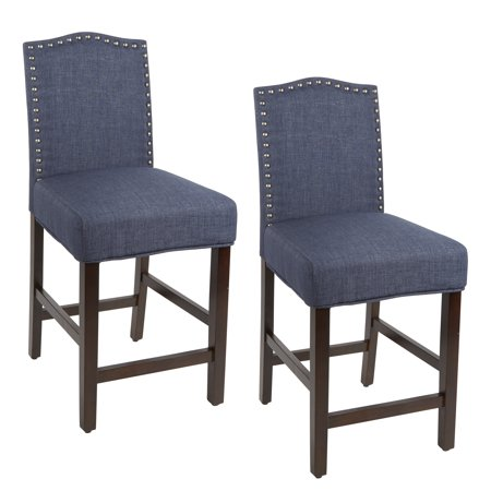 "Better Homes & Gardens London Faux Linen 24"" Counter Stool, Set of 2, Navy Blue"