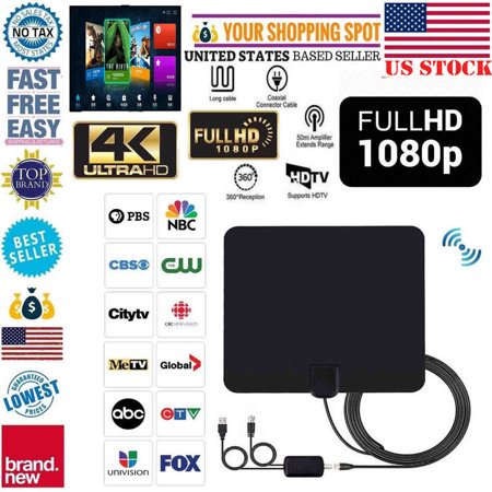 [Newest 2018] Amplified HD Digital TV Antenna Long 110 Miles Range –  Support 4K 1080p & All Older TV's Indoor Powerful HDTV Amplifier Signal  Booster