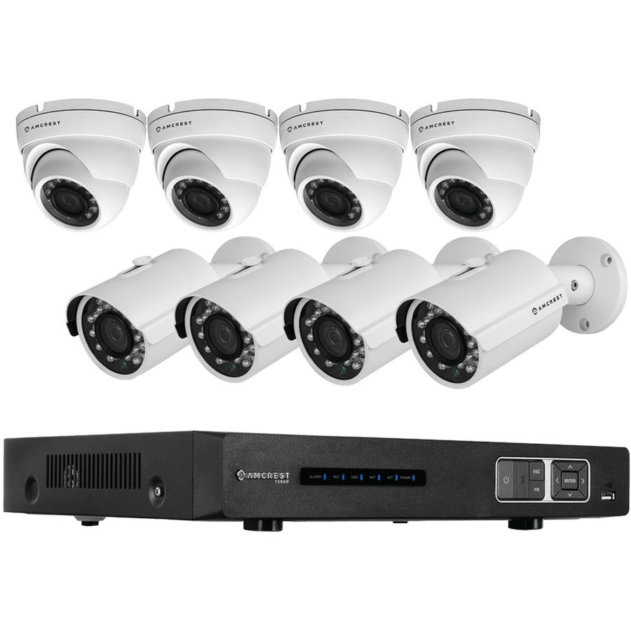 Amcrest AMDV10808M-4B4D-W 1080p Tribrid HDCVI 8-Channel 3TB DVR Security System with 4 Bullet and 4 Dome 2.1-Megapixel Cameras, White