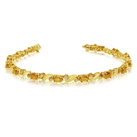 - 14k Yellow Gold Natural Citrine And Diamond Tennis Bracelet