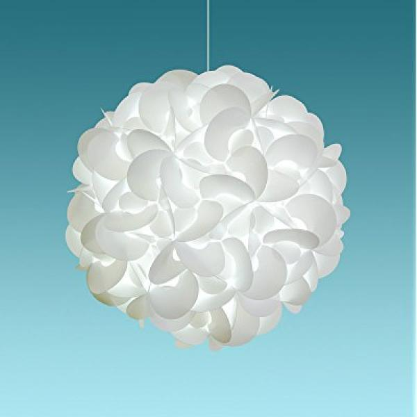Akari Lanterns Deluxe Rounds 22 wide , Cool White Glow, Modern & Unique Ceiling Hanging Light Fixtures / Swag Plug in or Hardwire as Pendant Lamp Shade - Spiral bulb included, Easy to install