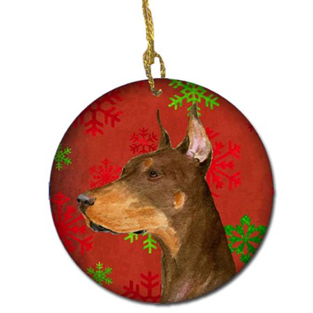 Doberman Red Snowflakes Holiday Christmas Ceramic