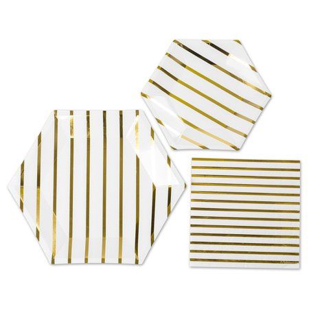 Andaz Press Gold Foil Striped Tableware Party Tableware Kit 18-Pack, 9-Inch, 7-Inch Plates, 50-Pack 6.5-Inch Napkins