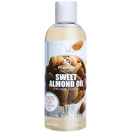 Sweet Almond Oil, Natural Carrier Oil 4 oz, Cleansing Properties, Evens Skin Tone, Treats Irritated Skin, Nourishes, Moisturizes & Prevents Aging- By Premium