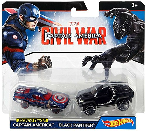 DRB51 Hot Wheels Marvel Captain America Civil War Character Car 2-Pack Styles May Vary Vehicle, Hot Wheels... by
