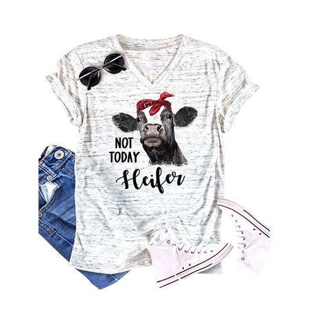 257da23b97a855 Roykit - Roykit Women Short Sleeve V Neck Cartoon Horse Letter Print Tee Tops  Blouse - Walmart.com
