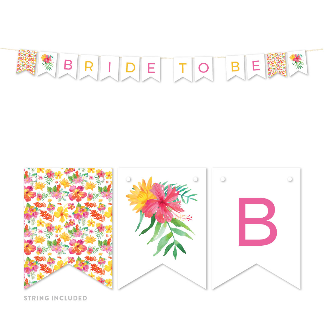 Tropical Floral Garden Party Wedding, Hanging Pennant Party Banner with String, Bride to Be