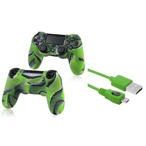 Insten Green 10FT Micro USB Charger Cable+Camouflage Navy Green Skin Case Cover for Sony PS4 Playstation 4