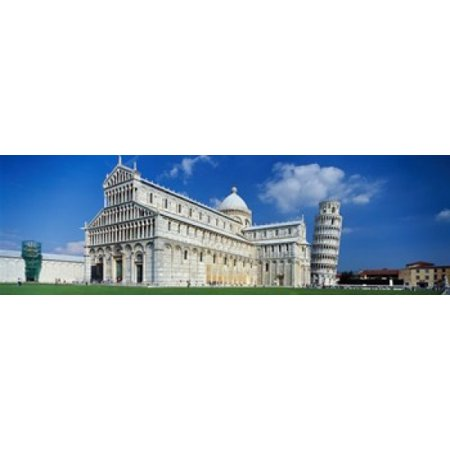 Facade of a cathedral with a tower Pisa Cathedral Leaning Tower of Pisa Pisa Tuscany Italy Poster Print