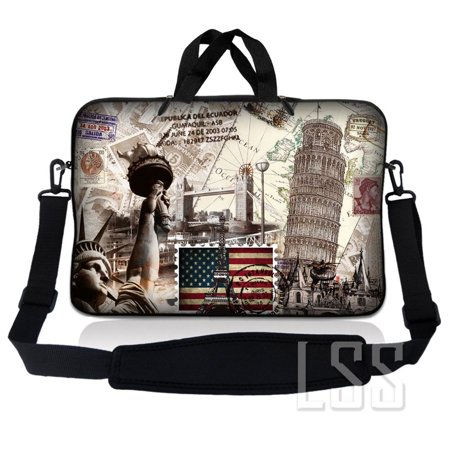 LSS 17 inch Laptop Sleeve Bag Carrying Case Pouch w/ Handle & Adjustable Shoulder Strap for 17.4' 17.3' 17' 16' Apple Macbook, GW, Acer, Asus, Dell, Hp, Sony, Toshiba, World