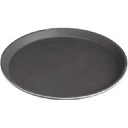 stanton trading non skid rubber lined 14-inch plastic round economy serving tray, black ()