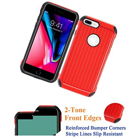 "for 5.5"" iPhone 8 + PLUS case iPhone 7 +PLUS Case Phone Case Ridge Line Slip Resistant Padded Corners Hybrid Layers Slim Shock Bumper Cover Red"