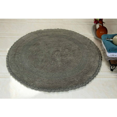 "Saffron Fabs Bath Rug 36"" Round Reversible Hand Woven Crochet Lace Border, Assorted Colors"