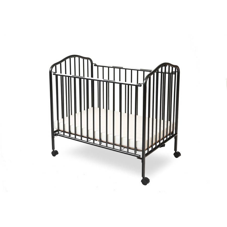L A Baby Portable Mini Crib With Mattress Black Walmart Com